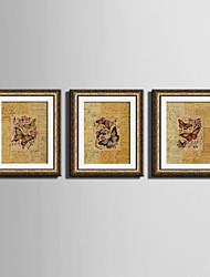 Animali Tele con cornice / Set con cornice Wall Art,PVC Oro Senza passepartout con cornice Wall Art