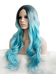 cheap -Somke Blue Pastel Fashion Personality Charming Natural Women's Trendy Wig with Dark Roots Celebrity Style It Girls