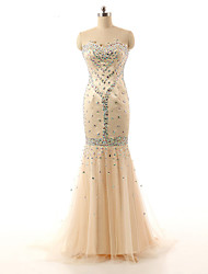 cheap -Mermaid / Trumpet Sweetheart Sweep / Brush Train Satin Formal Evening Dress with Beading Appliques Lace by Shang Shang Xi