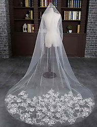 cheap -One-tier Cut Edge Wedding Veil Chapel Veils With Lace Tulle Wedding Accessories