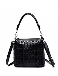 Women Bags All Seasons Sheepskin Shoulder Bag Rivet for Shopping Casual Sports Outdoor Black