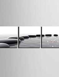 Недорогие -мини-размер e-home массив черных камней часы в полотном настенные часы 3шт