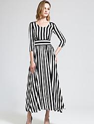 BORME® Femme Col en V Manches 1/2 Maxi Robes-Y030