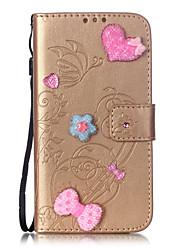 PU Leather Material Love Stickers Drill Pattern Phone Case for LG K10/K7/K4/G5/G4/G3/H340/LS770/H502