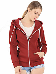 Women's Casual/Daily Simple / Active Loose Thick Cotton Hooded Sweater Regular Hoodies Solid Long Sleeve Spring / Fall