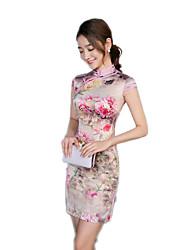 cheap -One-Piece Short Sleeve Medium Length Gray Lolita Dress Polyester