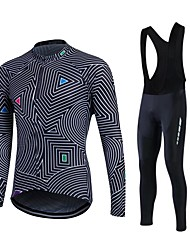 cheap -Fastcute Men's Women's Long Sleeves Cycling Jersey with Bib Tights Bike Clothing Suits, Thermal / Warm, Quick Dry, Fleece Lining,