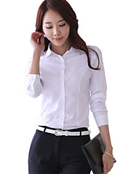 Women's Shirt Collar Wild Slim Plus Size OL Career Solid Long Sleeve Shirt