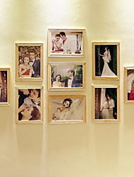 cheap -7 Inch Photo Wall Combination 9 Wood Frames Combination For Living Room Bedroom And Studio