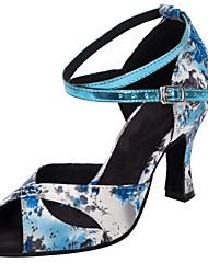 Women's Dance Shoes Satin Latin / Salsa Sandals / Heels Heel Practice / Indoor Blue Customizable