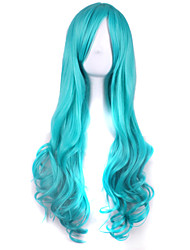 cheap -Synthetic Wig / Cosplay & Costume Wigs Curly / Deep Wave Asymmetrical Haircut Synthetic Hair Natural Hairline Blue Wig Women's Long Capless