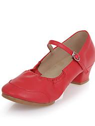Women's Latin Synthetic Flat Practice Indoor Outdoor Flat Heel Black Beige Peach Red Pink Non Customizable