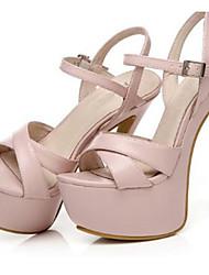 cheap -Women's Shoes Patent Leather Summer Sandals Stiletto Heel Platform Buckle for Party & Evening Dress Black Pink Light Blue Nude