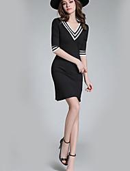 Dámské Sofistikované Běžné/Denní Pouzdro Šaty Barevné bloky,Krátký rukáv Do V Nad kolena Polyester Léto Podzim High Rise Lehce elastické