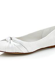 Damen-Flache Schuhe-Hochzeit / Kleid / Party & Festivität-Seide-Flacher Absatz-Komfort-Weiß / Beige