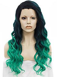 Donna Parrucche sintetiche Lace frontale Ondulati Verde parrucca del merletto costumi parrucche