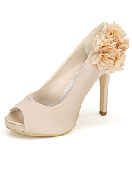 cheap -Women's Shoes Satin Spring / Summer Basic Pump Wedding Shoes Null Stiletto Heel Peep Toe Null Appliques / Buckle Blue / Champagne / Ivory