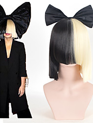 Halloween Party Online SIA Alive This Is Acting Half Black & Blonde Short Wig with Bowknot Accessory Costume Cosplay Wigs