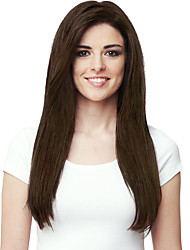 cheap -Long Straight Synthetic Hair Wigs Dark Brown Full Bang Heat Resistant