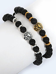 cheap -Men's Strand Bracelet Fashion Glass Alloy Round Lion Animal Jewelry Christmas Gifts Daily Casual Sports Costume Jewelry