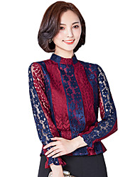 cheap -Spring Fall Go out Casual Plus Size Women's Slim Was Thin Fashion Striped Stand Collar Long Sleeve Blouse