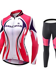 cheap -Malciklo Cycling Jersey with Tights Women's Long Sleeves Bike Compression Clothing Tights Quick Dry Front Zipper Wearable High
