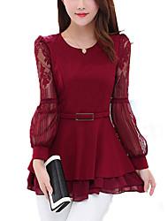 Feminino Blusa Para Noite Casual Tamanhos Grandes Simples Moda de Rua Todas as Estações,Sólido Vermelho Preto Algodão Raiom Decote Redondo