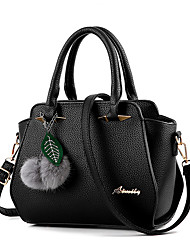 Women Bags Spring Summer Fall Winter All Seasons PU Shoulder Bag with Fur for Shopping Casual Formal Outdoor Office & Career Black Dark
