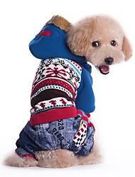preiswerte -Katze Hund Mäntel Kapuzenshirts Hundekleidung Cowboy Winddicht Modisch Einfarbig Blau Rosa Kostüm Für Haustiere