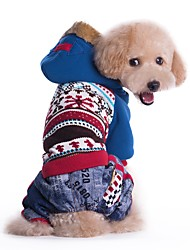 cheap -Cat Dog Coat Hoodie Dog Clothes Color Block Blue Pink Cotton Costume For Pets Men's Women's Cowboy Windproof Fashion