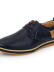 cheap -Men's Shoes Cowhide Spring Fall Comfort Oxfords Walking Shoes Lace-up For Casual Outdoor Black Dark Blue Brown