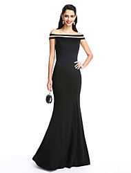cheap -Mermaid / Trumpet Off-the-shoulder Floor Length Jersey Formal Evening Dress with Pleats by TS Couture®