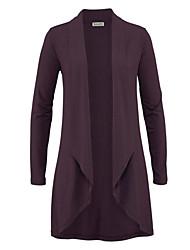 Women's Casual/Daily Simple / Street chic Long Cardigan Solid Cappa Cowl Long Sleeve Fashion Slim Medium Micro-elastic