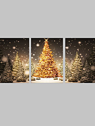 E-HOME® Stretched LED Canvas Print Art Christmas Tree in The Snow LED Flashing Optical Fiber Print Set of 3