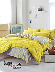 Bedtoppings Comforter Duvet Quilt Cover 4pcs Set Queen Size Flat Sheet Pillowcase Yellow Grey Pattern Prints Microfiber