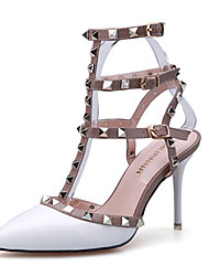 cheap -Women's Sandals Comfort Patent Leather Summer Casual Comfort Rivet Stiletto Heel White Black Gray Fuchsia Ruby 3in-3 3/4in