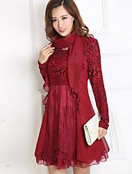 Ample Robe Femme Sortie Grandes Tailles Vintage,Couleur Pleine Broderie Col Arrondi Au dessus du genou Manches Longues Rouge Noir Marron