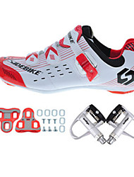 cheap -SIDEBIKE Adults' Cycling Shoes With Pedals & Cleats / Road Bike Shoes Carbon Fiber Cushioning, Windproof Cycling White / Black / Red Men's