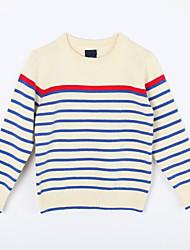 preiswerte -Pullover & Cardigan Alltag Gestreift Baumwolle Herbst Beige