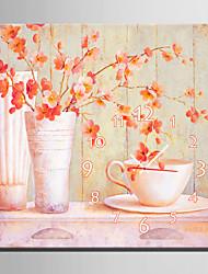 Недорогие -современный стиль розовые цветочные часы стены в холст