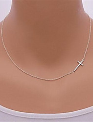 Women's Pendant Necklaces Cross Silver Sterling Silver Alloy Sideways Jewelry For Party Daily Casual Sports