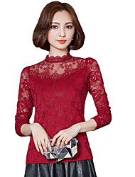 cheap -Spring Fall Going out Casual Plus Size Women's Blouse Solid Color Lace Stand Collar Long Sleeve Shirt Slim T-shirt Tops