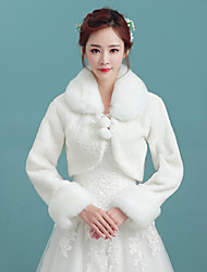 Women's Wrap Shrugs Long Sleeve Faux Fur White Wedding / Party/Evening / Casual Fold-over Collar