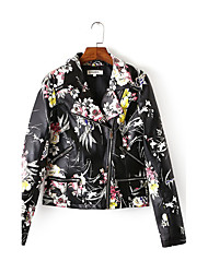 cheap -Women's Casual/Daily Casual Fall Leather JacketsFloral Notch Lapel Long Sleeve Black Cotton Medium
