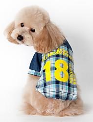 preiswerte -Katze Hund T-shirt Hundekleidung Modisch Sport Plaid/Karomuster Blau Rosa Kostüm Für Haustiere