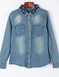 cheap -Women's Casual/Daily Casual Fall Denim JacketsSolid Shirt Collar Long Sleeve Blue Cotton Medium