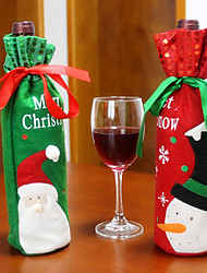 2PCS Hot Sale Christmas Decoration Santa Claus Snowman Red Wine Bottle Cover