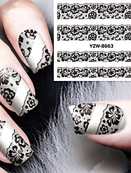 cheap -sexy and elegant black lace applique nail watermark