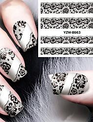 Недорогие -сексуальный и элегантный черный кружева аппликация ногтей водяной знак