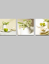 cheap -VISUAL STAR®3 panel Flowers Green Color Still Life Painting Canvas Wall Art for Kitchen Decor Ready to Hang